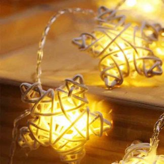 LED Lantern Rattan Pentagram Star Light