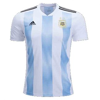 White and Blue Stripe Mesh Argentina World Cup Home Football Jersey for Men