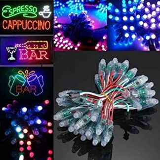 50PCS WS2811 RGB Full Color 12mm Pixels Digital Addressable LED String DC5V IP68