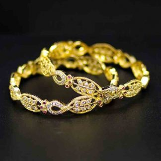American Diamond Wedding Party Wear Gold Plated Bracelet Bangle Set for Girls and Women