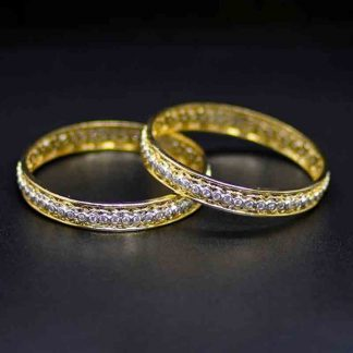 American Diamond Gold Plated Bracelet Bangle Set for Women