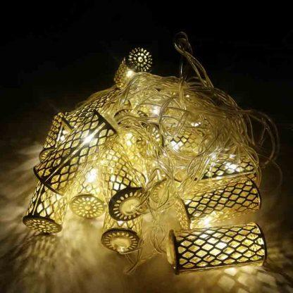 Golden Tube Cylindrical 20 LED Bulbs String Lights