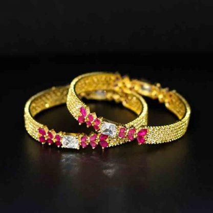 Diamond Cut Stone Bangle for Women
