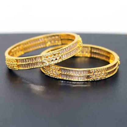 Diamond Cut Stone Bangle for Women