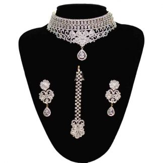 Exclusive AD Necklace with earrings & Tikli for Women