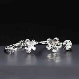 Flower Shape Silver Color Bracelet for Women and Girls