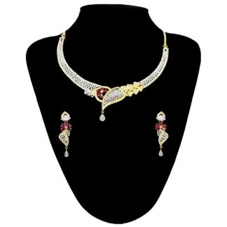 Gold Plated American Diamond Stone Jewellery Set for Women