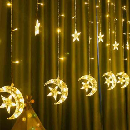 LED Star Moon Curtain String Lights
