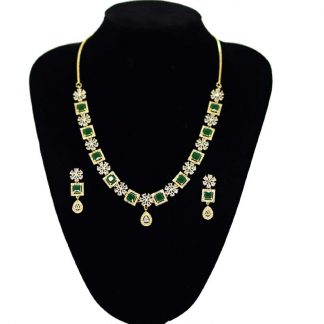 American diamond cut stone fashion necklace