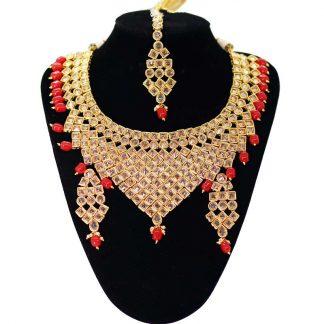 Golden Kundan Jewellery Set For Women