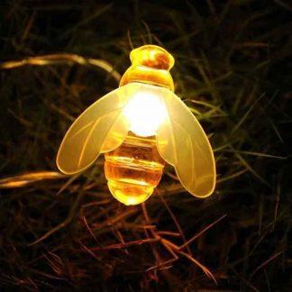 Solar Powered Cute Honey Bee Shape LED String Light Outdoor Garden Fence Patio Decor