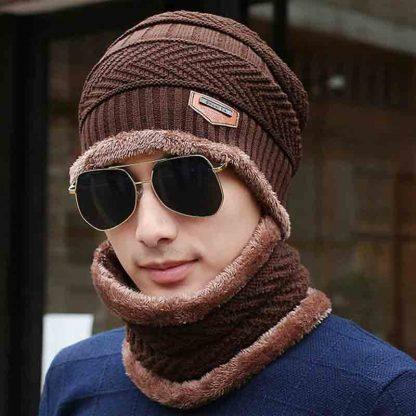Winter Beanies balaclava Knit Neck Warmer Hats Men Women Beanies Fleece Wool Liner Thick Hat Scarf Set
