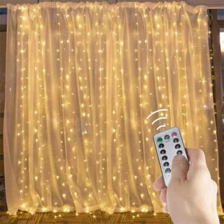 Hanging Window Curtain LED Fairy String Lights 9.8 Feet Dimmable and Connectable with 300 Led, Remote, 8 Lighting Modes
