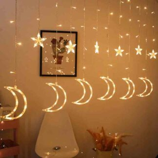 Star Moon LED Curtain Light Fairy String Night Light