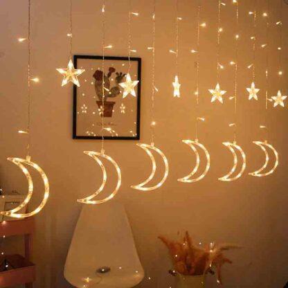 Star Moon LED Curtain Light Fairy String Night Light