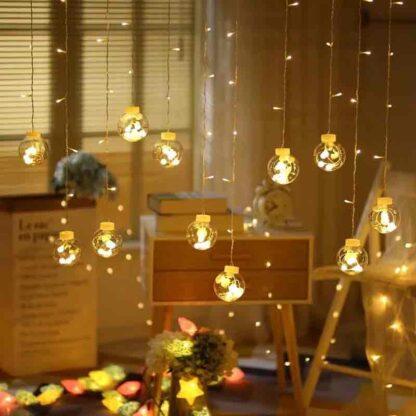 LAZYMARTS 108 LED Bulb Shape Globe LED Curtain Lights for Home Decoration Party Festival Diwali Christmas (Warm Yellow)