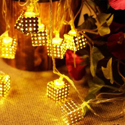 Golden Metal Cube String Lights