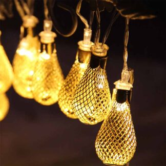 LED String lights Iron Metal Mesh Small Water Drop Shaped