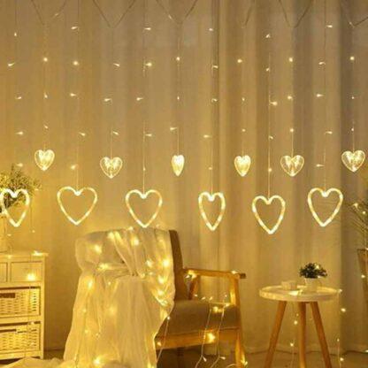 LED Warm White Heart shape curtain light, Plug-in