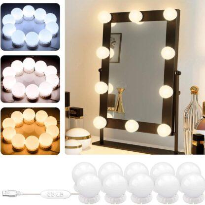 Led Makeup Mirror Lights,POVO DIY Hollywood Vanity Lights 10 Adjustable Brightness and 3 Color Lighting Modes USB Powered 10 LED Bulbs for Makeup Bathroom and Dressing Mirror.