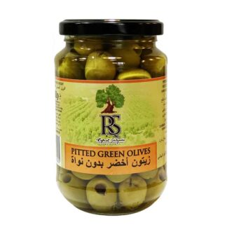 RS Pitted Green Olives: 370ML Glass Jar