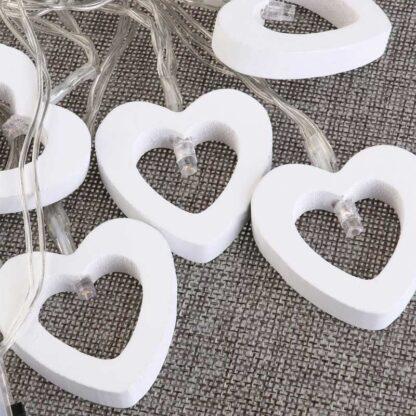 Wooden Heart LED String Lights Battery Powered Fairy Light Waterproof Warm White